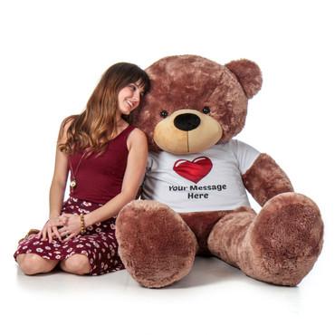 Super Soft Personalized 5 Foot Mocha Brown Teddy Bear