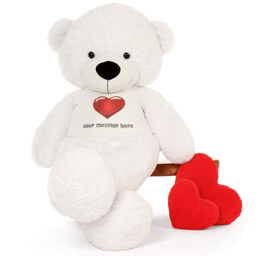 72in softest life size Personalized Teddy Bear White Coco Cuddles Red Heart Shirt gift