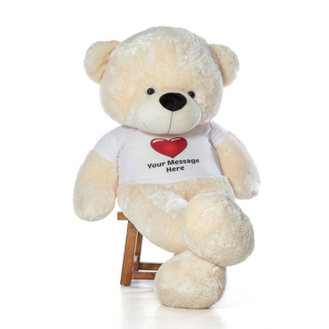 72in softest cuddly fur Personalized Teddy Bear Vanilla  Cozy Cuddles Red Heart Shirt
