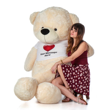 6 Foot Super Soft Personalized Cream Teddy Bear with Red Heart T-shirt