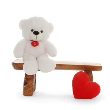 2.5 ft. Super Soft White Teddy Bear with Let's Kiss Heart Necklace