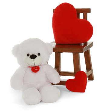 Premium Quality 30 inch White Teddy Bear with Red Heart Necklace