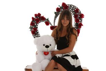 30 in Super Soft Cute White Teddy Bear