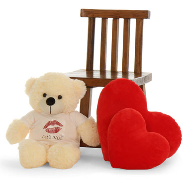 2 ft. Super Soft vanilla Teddy Bear with Let's Kiss T-shirt
