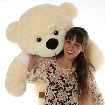 4ft Personalized Huggable Teddy Bear for Valentine's Day with Let's Kiss t-shirt Cozy Cuddles Cream