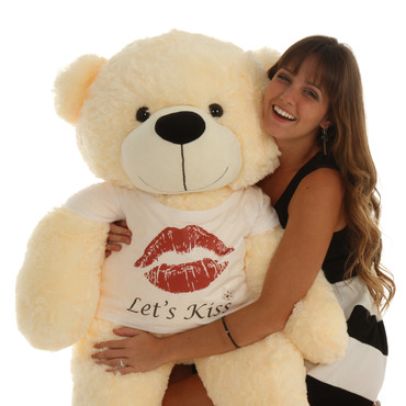 4ft Personalized Teddy Bear for Valentine's Day with Let's Kiss t-shirt Cozy Cuddles Cream