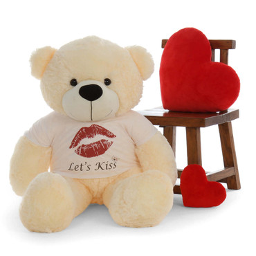 4ft Personalized Cutest Teddy Bear for Valentine's Day with Let's Kiss t-shirt Cozy Cuddles Cream