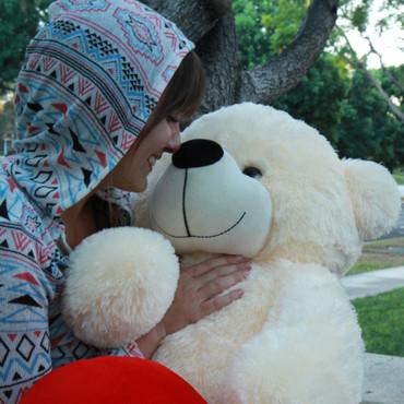 48 in super soft Huggable Cream Lets Kiss Heart