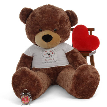 6ft Life Size mocha Brown Teddy Bear Personalized Valentine's Day  Sunny Cuddles  'Kiss Me' shirt
