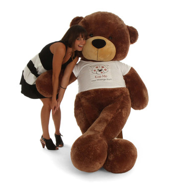 6ft Life Size Personalized Valentine's Day Teddy Bear Sunny Cuddles mocha brown fur 'Kiss Me' shirt