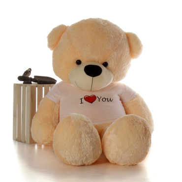 Super Soft and Cuddly Vanilla Cream Teddy Bear wearing I Love You T-shirt