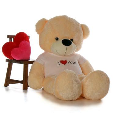 6 feet Giant Cozy Cream Teddy Bear with I Heart You T-shirt