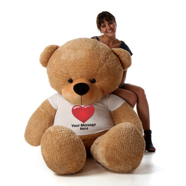 Life Size 72in Personalized Valentine's Day Teddy Bear gift Shaggy Cuddles Amber Brown Fur