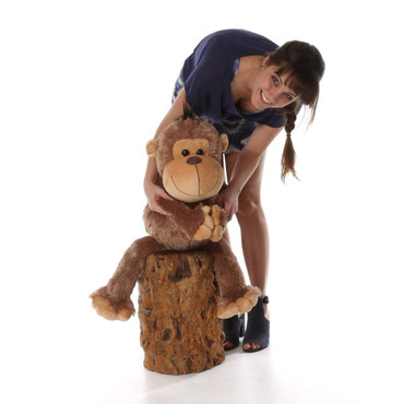 30in Giant Stuffed Monkey Funny Freddy with super soft brown fur from Giant Teddy brand