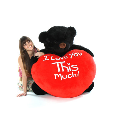 4 feet Giant super soft Black Teddy Bear With I Love You This Much Heart