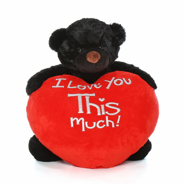 4ft Cuddles Life Size Valentine's Day Gift Giant Teddy bear Black Fur Red Plush Heart