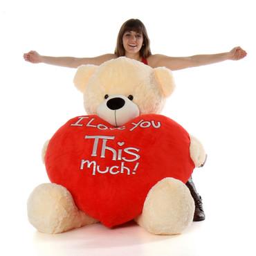 5ft Valentine huge teddy bear Cozy Cuddles cream fur, holding jumbo red heart pillow
