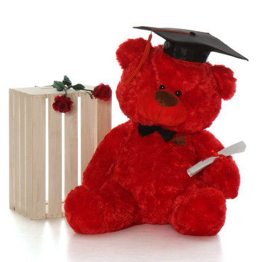 35in Red Graduation Teddy Bear with Cap, Diploma and Bow Tie