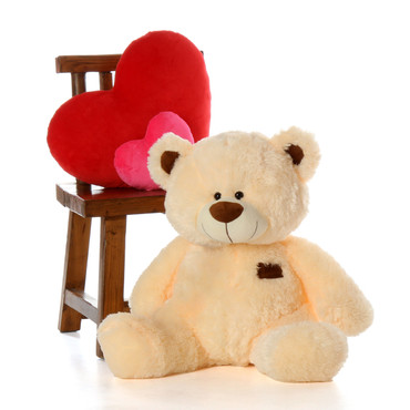 30 inch Vanilla Cream BooBoo Shags Big Teddy Bear in Sitting Position