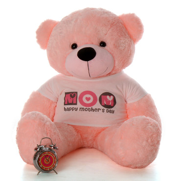"""4ft Pink Lady Cuddles teddy bear in """"Happy Mother's Day"""" shirt"""