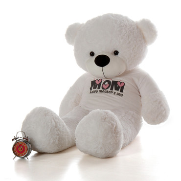 """5ft White Coco Cuddles teddy bear in """"Happy Mother's Day"""" shirt"""
