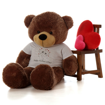 60in mocha Happy Mother's Day teddy bear gift with hugging bears shirt design