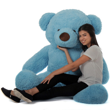 5ft blue teddy bear soft and huggable Sammy Chubs