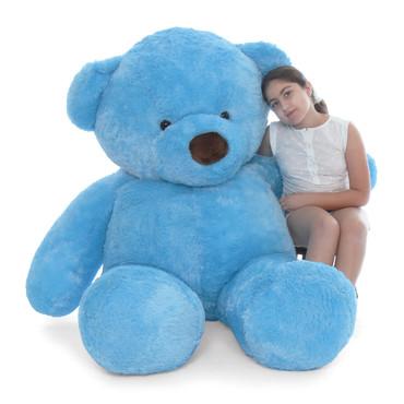 Biggest blue teddy bear huggable Sammy Chubs sky blue fur 6ft tall Giant Teddy brand