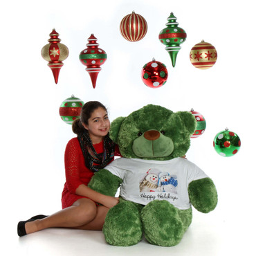 4ft Happy Holidays with Lucky Cuddles Green Giant Teddy Bear