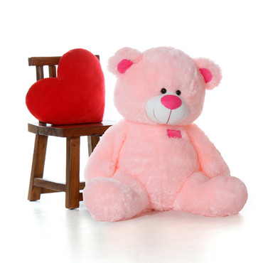 4 Foot Pink Teddy Bear Cute Cuddly and Soft