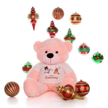 48in Pink Teddy Bear Lady Cuddles Merry Christmas Santa Shirt