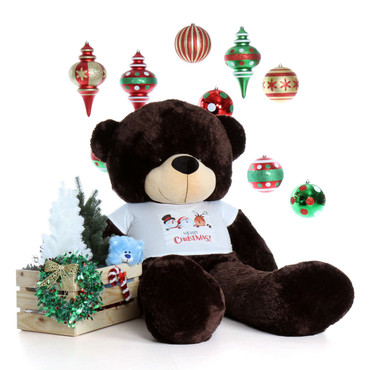 6ft Brownie Cuddles Ready for Christmas Dark Brown Teddy Bear