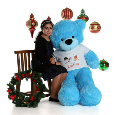 5ft Happy Cuddles Giant Blue Teddy Bear in Merry Christmas Shirt