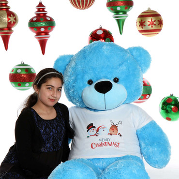 60in Massive Blue Teddy Bear Merry Christmas from Happy Cuddles
