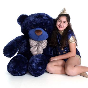 4ft Navy Blue Giant Teddy Bear Royce Cuddles