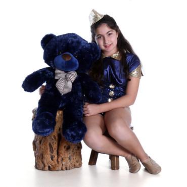 2.5ft Navy Blue Teddy Bear Royce Cuddles