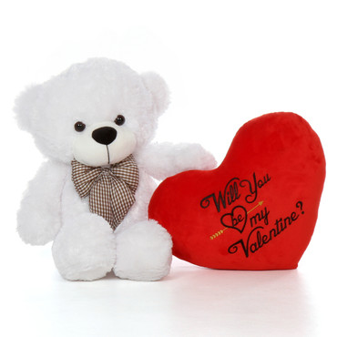2.5ft Coco Cuddles Giant Teddy Will You Be My Valentine Plush Heart