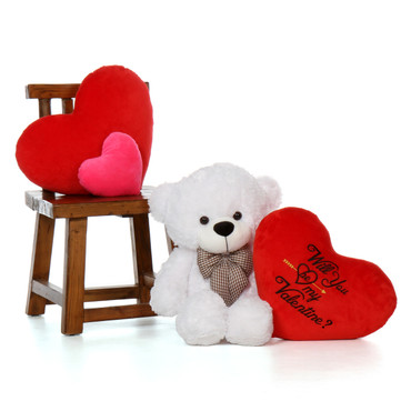 30in White Coco Cuddles w Will You Be My Valentine Red Plush  Heart