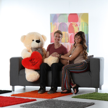 48in Cozy Cuddles Vanilla Giant Teddy Bear w Red Plush Heart