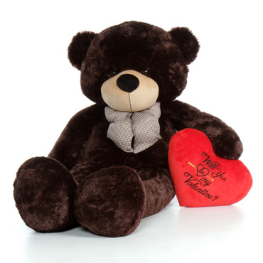 """60in Chocolate Brown Valentine's Day Teddy Bear Brownie Cuddles with red heart """"Will You Be My Valentine?"""" pillow"""
