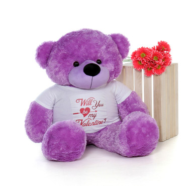 "48in Valentine's Day Teddy Purple Bear Dee Dee Cuddles wearing a ""Will You Be My Valentine?"" Shirt"