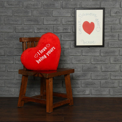 "Personalized Red Pillow Heart with ""I love being yours"" Message"