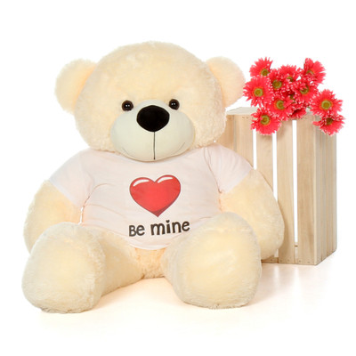 48in Vanilla Cream Cozy Cuddles Giant Teddy with a Be Mine Valentine's Day T-Shirt