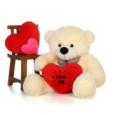 4ft Cozy Cuddles Vanilla Giant Teddy with Valentine's Day Hug Me heart pillow