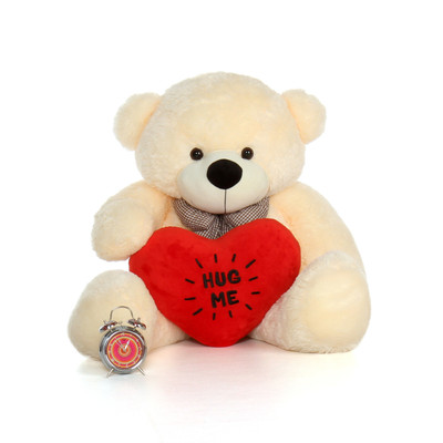 48in Big Life Size Valentine's Day Teddy Bear Vanilla Cream Cozy Cuddles with beautiful 'Hug Me' red heart pillow