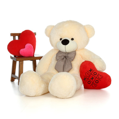 60in Cozy Cuddles Vanilla Teddy Bear with XOXO heart pillow