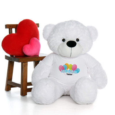 48in White Coco Cuddles Happy Birthday Personalized Teddy Bear