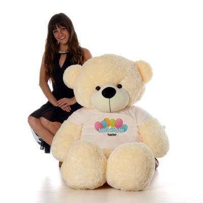 60in Vanilla Cozy Cuddles Happy Birthday Personalized Teddy Bear