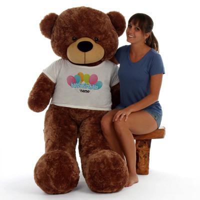 60in Mocha Sunny Cuddles Happy Birthday Personalized Teddy Bear