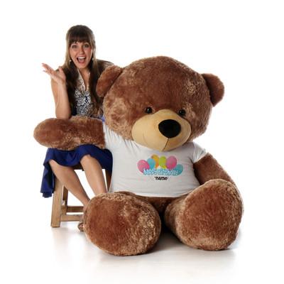 6 Foot Mocha Sunny Cuddles Happy Birthday Personalized Teddy Bear